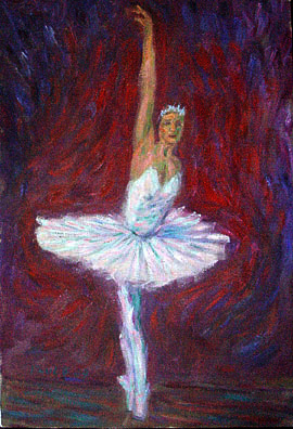 """Ballerina on Pointe"" Ballet oil painting and prints by Pointillistic/Impressionist painter Paul Berenson"