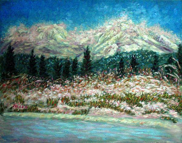 """First Snow in Mount Shasta"" Mount Shasta oil painting and prints by Pointillistic/Impressionist painter Paul Berenson"