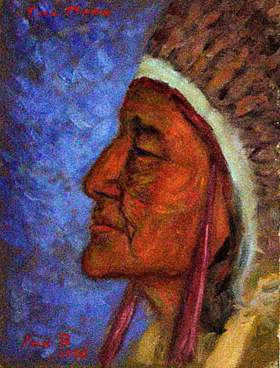 """Chief 2 Moons"" Native American Portrait oil painting and prints by Pointillistic/Impressionist painter Paul Berenson"