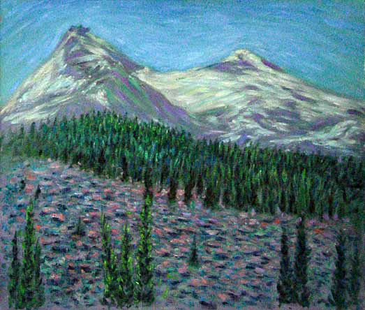 """Lava Field Near the Three Sisters Mountains"" volcanoes oil painting and prints by Pointillistic/Impressionist painter Paul Berenson"