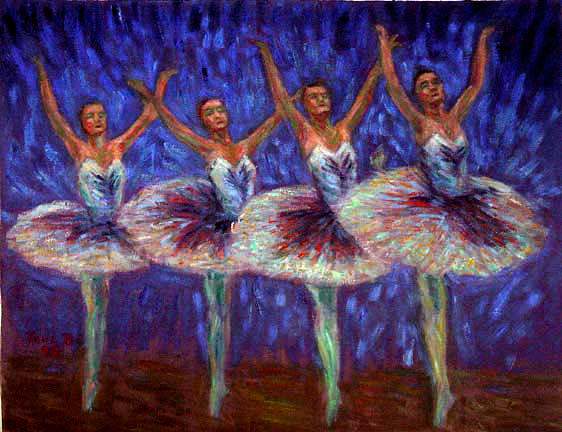 """Cygnets"" Swan Lake Ballet oil painting and prints by Pointillistic/Impressionist painter Paul Berenson"
