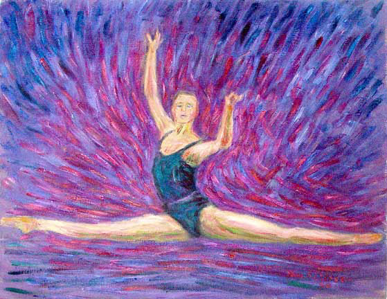 """Agon"" Ballet oil painting and prints by Pointillistic/Impressionist painter Paul Berenson"