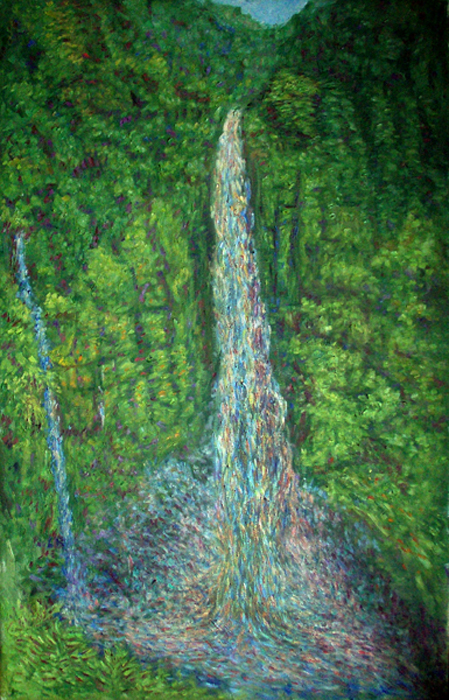 """Akaka Falls"" Hawaii oil painting and prints by Pointillistic/Impressionist painter Paul Berenson"