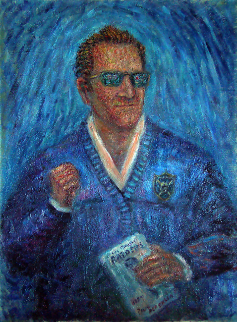 """Al Davis: Just Win Baby"" Raiders Football oil painting and prints by Pointillistic/Impressionist painter Paul Berenson"
