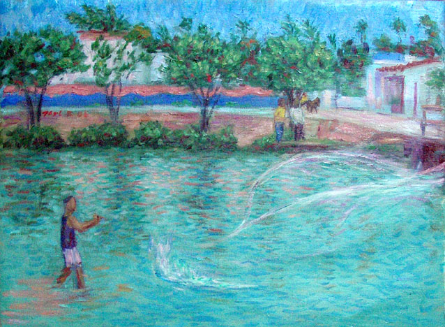 """Alagoas Fisherman"" Brazil oil painting and prints by Pointillistic/Impressionist painter Paul Berenson"