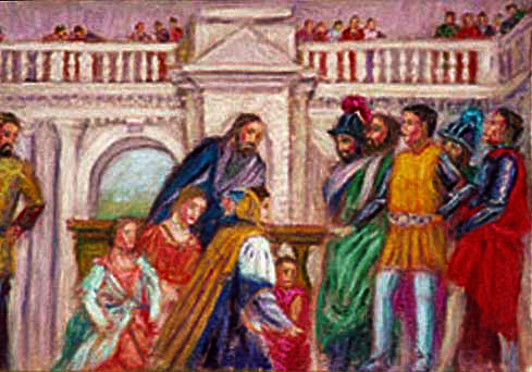 """The Family of Darius before Alexander"" (After Veronese) Classical Figure oil painting and prints by Pointillistic/Impressionist painter Paul Berenson"