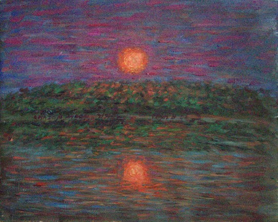 """Amazon Moon"" Brazil oil painting and prints by Pointillistic/Impressionist painter Paul Berenson"