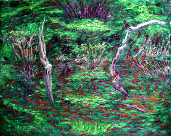 Amazon Reflections 2 Brazil oil painting and prints by Pointillistic/Impressionist painter Paul Berenson