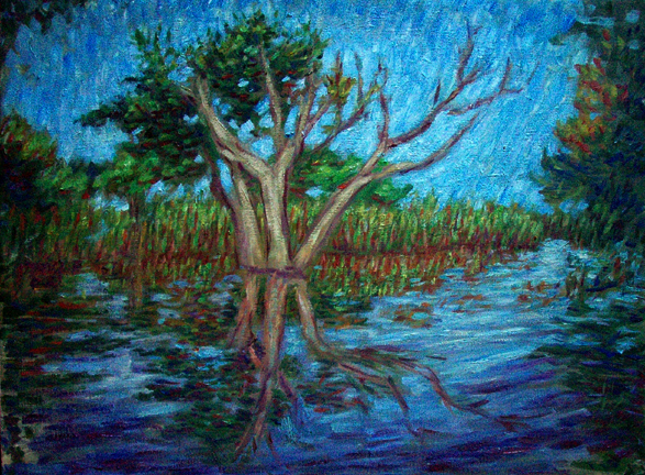 """Amazon Reflections 4"" Brazil oil painting and prints by Pointillistic/Impressionist painter Paul Berenson"