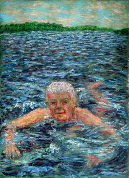 """Swimming in the Amazon"" Brazil oil painting and prints by Pointillistic/Impressionist painter Paul Berenson"