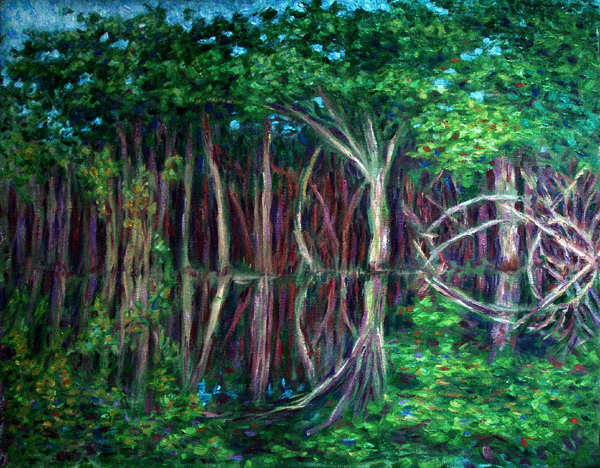 """Amazon Reflections: In the Jungle"" Amazon Jungle oil painting and prints by Pointillistic/Impressionist painter Paul Berenson"