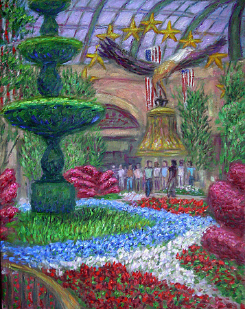 """American Garden at the Bellagio"" Las Vegas oil painting and prints by Pointillistic/Impressionist painter Paul Berenson"