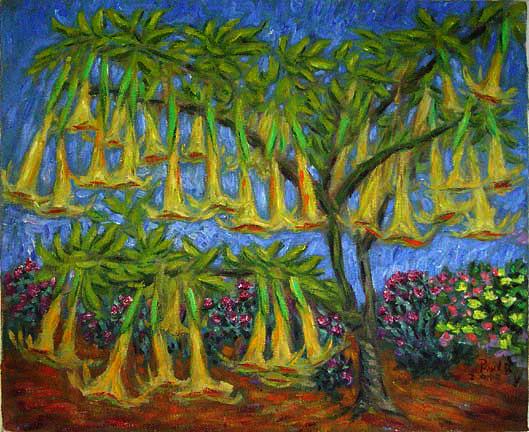 """Angel Trumpeters"" Tropical Flower oil painting and prints by Pointillistic/Impressionist painter Paul Berenson"