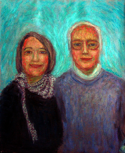 """Ann and Ernst Seeler""  Portrait oil painting and prints by Pointillistic/Impressionist painter Paul Berenson"