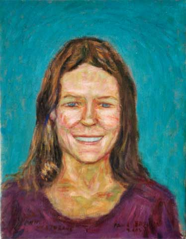 """Ann Prebys"" Portraits oil painting and prints by Pointillistic/Impressionist painter Paul Berenson"