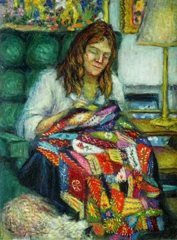 """Ann, Her Crazy Quilt, and Fluff"" Portrait oil painting and prints by Pointillistic/Impressionist painter Paul Berenson"