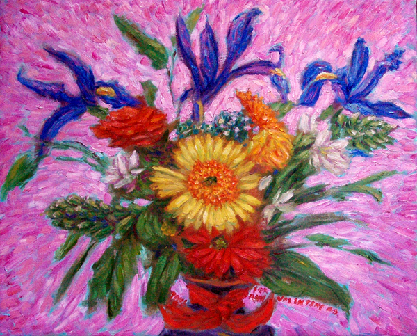 """Ann's Valentine Bouquet, '09"" Flower oil painting and prints by Pointillistic/Impressionist painter Paul Berenson"