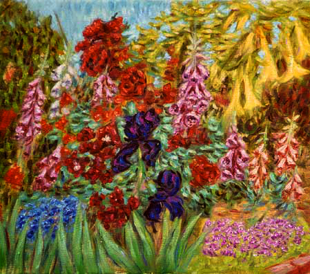"""Ann's Fox Gloves, 2002"" Flower Garden oil painting and prints by Pointillistic/Impressionist painter Paul Berenson"
