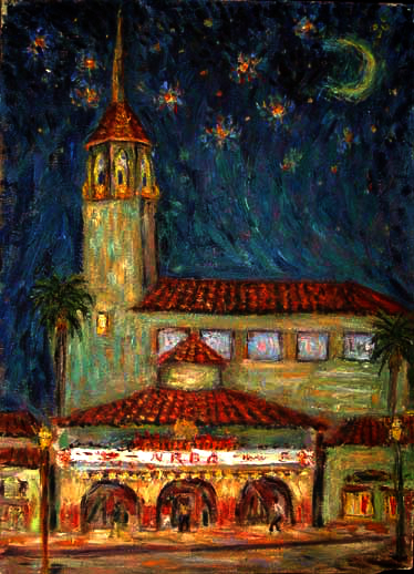 """Arlington Theater at Night"" Santa Barbara oil painting and prints by Pointillistic/Impressionist painter Paul Berenson"