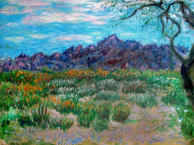 """Arizona Desert"" Arizona oil painting and prints by Pointillistic/Impressionist painter Paul Berenson"