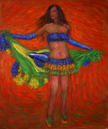 """Flag Dance"" Samba oil painting and prints by Pointillistic/Impressionist painter Paul Berenson"