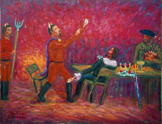 Babinsky Cheating the Devil at Cards Opera oil painting and prints by Pointillistic/Impressionist painter Paul Berenson