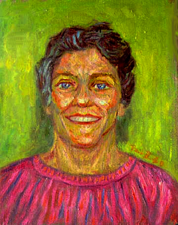 """Barbara"" Portrait oil painting and prints by Pointillistic/Impressionist painter Paul Berenson"