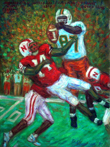 """Barron Miles"" Nebraska Football oil painting and prints by Pointillistic/Impressionist painter Paul Berenson"
