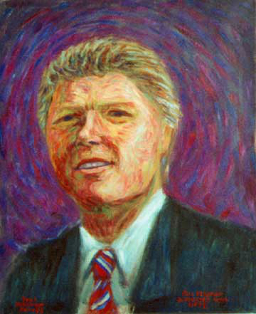 """Bill Clinton"" Bill Clinton oil painting and prints by Pointillistic/Impressionist painter Paul Berenson"