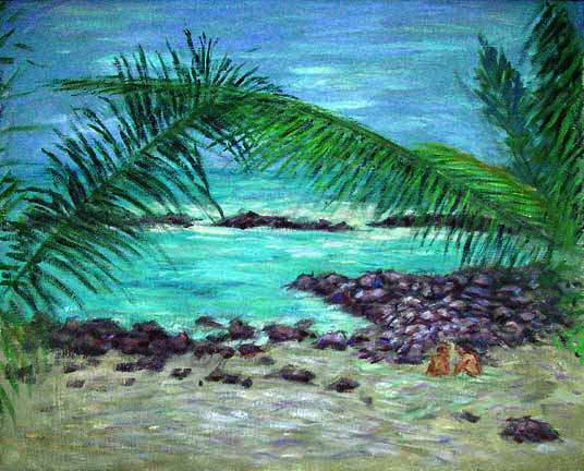 """Hawaii Beach Palms"" Hawaii oil painting and prints by Pointillistic/Impressionist painter Paul Berenson"