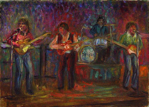 """The Beatles"" Rock & Roll oil painting and prints by Pointillistic/Impressionist painter Paul Berenson"