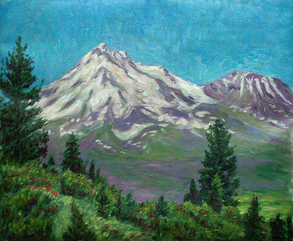"""Behind Mt. Shasta"" Mt. Shasta oil painting and prints by Pointillistic/Impressionist painter Paul Berenson"