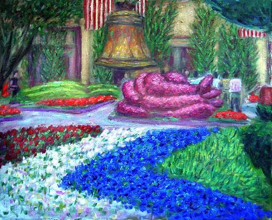 """Bellagio Garden"" Flower Garden oil painting and prints by Pointillistic/Impressionist painter Paul Berenson"