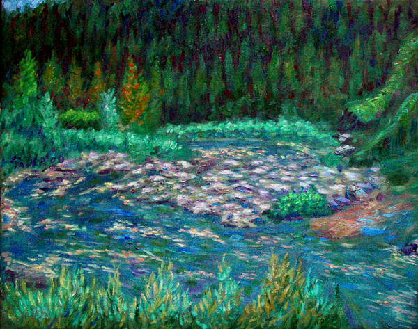 """Bend in the Klamath"" California Waterscapes oil painting and prints by Pointillistic/Impressionist painter Paul Berenson"