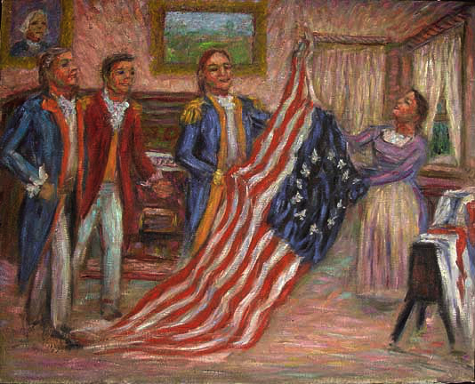 """Betsy Ross Presenting the Flag to Washington"" Historical oil painting and prints by Pointillistic/Impressionist painter Paul Berenson"