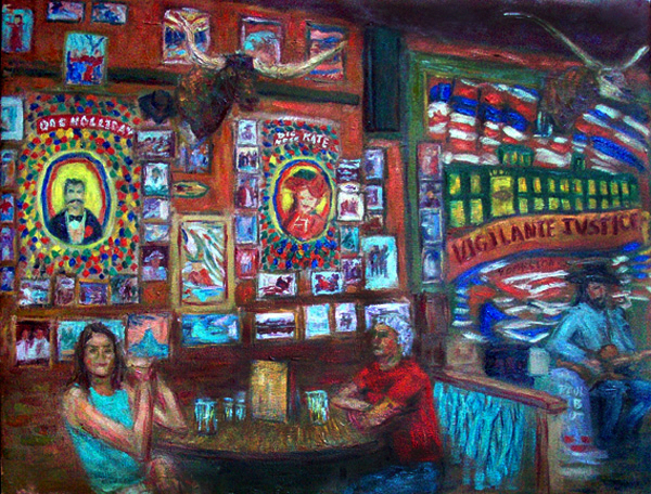 """Big Nose Kate's Saloon (Tombstone, AZ)"" Americana oil painting and prints by Pointillistic/Impressionist painter Paul Berenson"