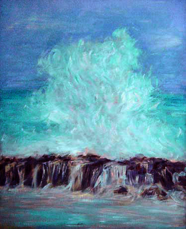 """North Shore Big Wave"" Hawaii oil painting and prints by Pointillistic/Impressionist painter Paul Berenson"