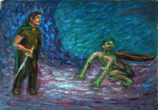 """Bilbo and Gollum"" Lord of the Rings oil painting and prints by Pointillistic/Impressionist painter Paul Berenson"