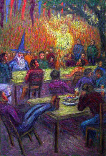 """Bilbo's Long Expected Party"" Lord of the Rings oil painting and prints by Pointillistic/Impressionist painter Paul Berenson"