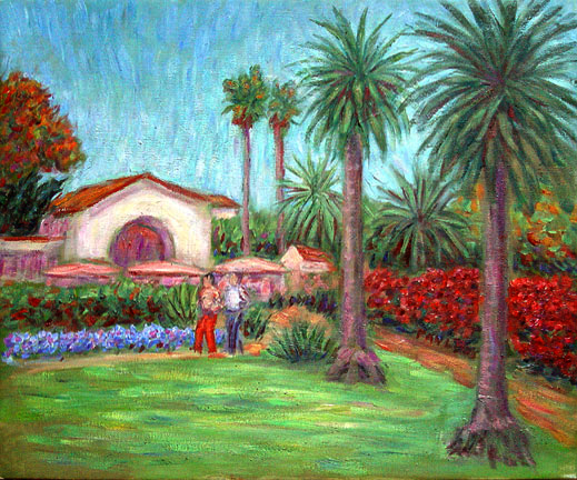"""The Biltmore"" Santa Barbara oil painting and prints by Pointillistic/Impressionist painter Paul Berenson"