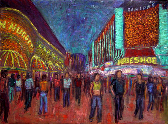 """Binion's Horseshoe"" Las Vegas oil painting and prints by Pointillistic/Impressionist painter Paul Berenson"