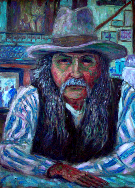 """Bird Cage Pete"" Tombstone, Arizona oil painting and prints by Pointillistic/Impressionist painter Paul Berenson"