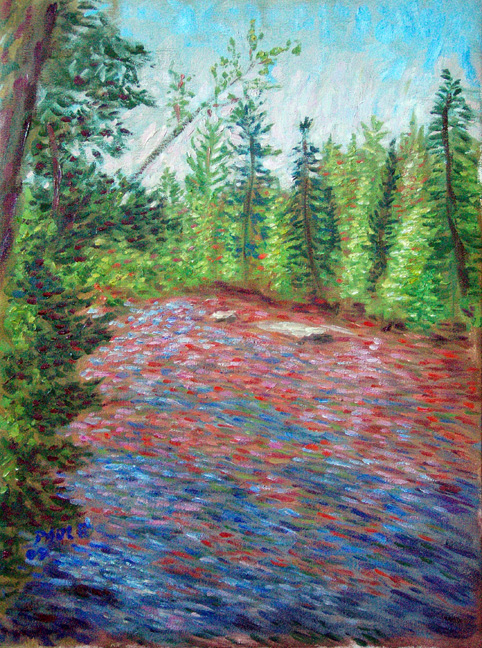 """Bois Brule River"" Lake Superior oil painting and prints by Pointillistic/Impressionist painter Paul Berenson"