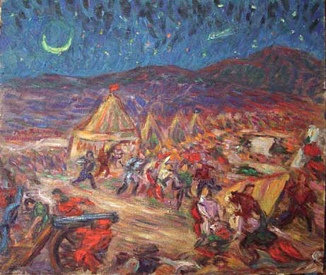 """Botzaris Surprising the Turkish Camp"" (After Delacriox) Classical Figure oil painting and prints by Pointillistic/Impressionist painter Paul Berenson"
