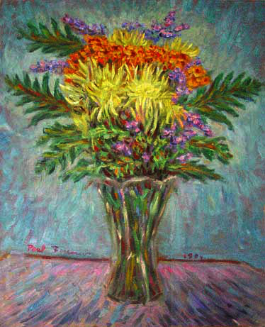 """Bouquet in a Crystal Vase"" Flower oil painting and prints by Pointillistic/Impressionist painter Paul Berenson"