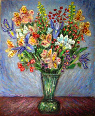 """Bouquet With Irises"" Flower Bouquet oil painting and prints by Pointillistic/Impressionist painter Paul Berenson"