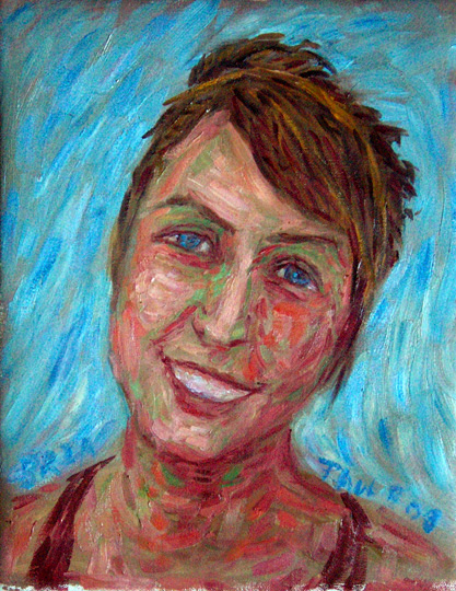 """Bria"" Friend Portrait oil painting and prints by Pointillistic/Impressionist painter Paul Berenson"
