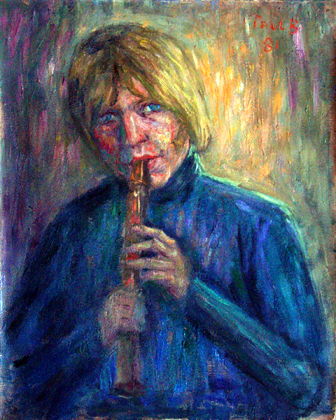 """Brian Jones"" Rock Music oil painting and prints by Pointillistic/Impressionist painter Paul Berenson"