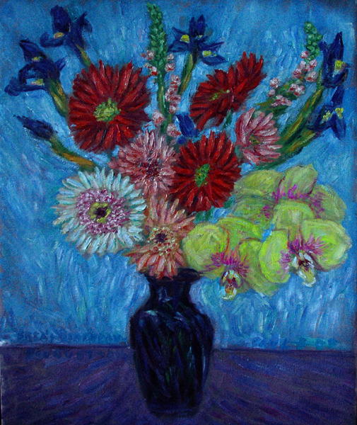 """Bria's Birthday Bouquet"" Flower Bouquet oil painting and prints by Pointillistic/Impressionist painter Paul Berenson"