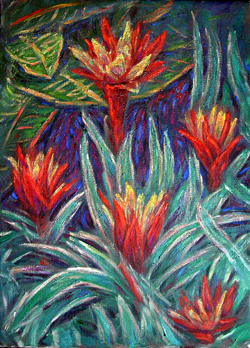 """Bromelias"" Tropical Flower oil painting and prints by Pointillistic/Impressionist painter Paul Berenson"